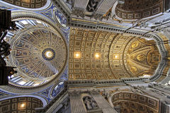 Saint Peter's Basilica. The spectacular dome and ceiling of Saint Peter's Basilica at the Vatican, Rome, Italy Stock Photography