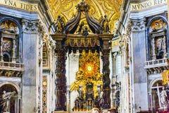 Saint Peter`s Basilica Bernini Baldacchino Holy Spirit Vatican Rome Italy. Saint Peter`s Basilica Bernini Baldacchino Holy Spirit Dove Vatican Rome Italy Royalty Free Stock Photography