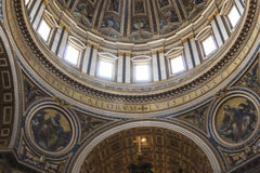 Saint Peter's Basilica Dome from inside the chuch. Stock Image