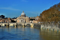 Saint Peter's Basilica - No People. A view of Saint Peter's basilica from the river in Rome, Italy Stock Photos