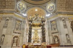 Saint Peter`s Basilica, place of worship, basilica, altar, church. Saint Peter's Basilica is place of worship, church and cathedral. That marvel has basilica Royalty Free Stock Photo