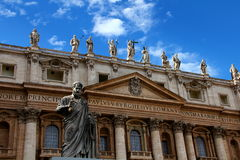 Saint Peter's Basilica, Rome. St Peter's Basilica facade with blue sky and clouds Stock Images