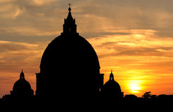 Saint Peter's Basilica at sunset in Vatican City, Rome Stock Image