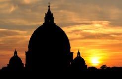 Saint Peter's Basilica at sunset in Vatican City, Rome Stock Image
