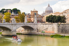 Saint Peter's Basilica and Tiber river. Rome Italy. View across the Tiber river at the St.Peter's dome Vatican Rome Stock Photos