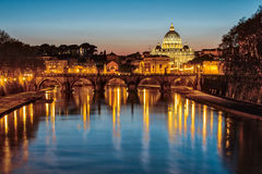 Saint Peter's Basilica in Vatican City State at Night Stock Photo
