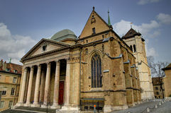 Saint Peter's Cathedral and the Chapel of the Maccabees. In Geneva, Switzerland. Built between 1150 and 1230, Saint Peter's Cathedral comprises elements of Royalty Free Stock Image