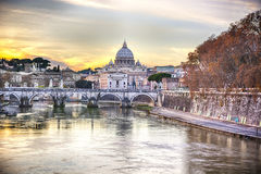 Saint Peter's Cathedral in Vatican City seen from the river Tiber Royalty Free Stock Photos