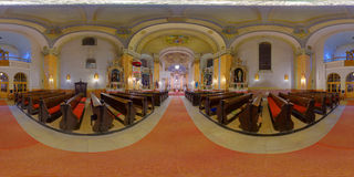 Saint Peter's Catholic Church Interior in Gherla, Romania. 360 panorama of Saint Peter's Catholic Church interior in lit up at night in Gherla, Romania Stock Photos