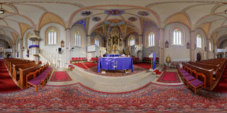 Saint Peter's Catholic Church's Altar in Cluj-Napoca, Romania. 360 panorama of from the altar of Saint Peter's Catholic Church in Cluj-Napoca, Romania Royalty Free Stock Images