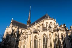 15th century Saint Peter`s Church, in Leuven city centre, Flanders, Belgium. Saint Peter`s Church is a 15th century Brabantine Gothic style cathedral, situated royalty free stock photos