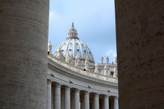 Saint Peters dome and colonnades. Vatican City Royalty Free Stock Photos