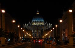 Saint Peters by night. The dome of Christianity when night comes Royalty Free Stock Images
