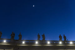 Saint Peter`s Square at night in Vatican City, Vatican Stock Photos