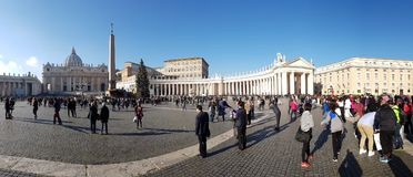 Saint Peter`s Square, plaza, crowd, city, landmark. Saint Peter`s Square is plaza, landmark and human settlement. That marvel has crowd, town square and tourism Royalty Free Stock Image