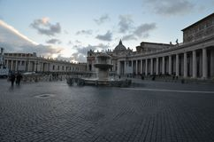 Saint Peter`s Square, sky, landmark, town square, cloud. Saint Peter's Square is sky, cloud and plaza. That marvel has landmark, water and morning and that royalty free stock image