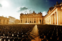 Saint Peter's Square in sunset time Royalty Free Stock Image