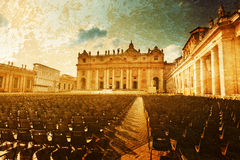 Saint Peter's Square in sunset time Stock Images