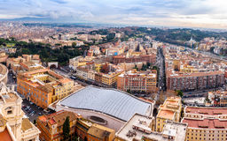Saint Peter's Square in Vatican and aerial view of Rome Royalty Free Stock Images