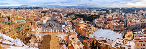 Saint Peter's Square in Vatican and aerial view of Rome Royalty Free Stock Photos