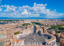 Saint Peter's Square, Vatican and city aerial view. Rome, Italy. Famous Saint Peter's Square in Vatican and aerial view of the city Stock Image