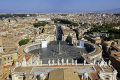 Saint Peter's Square, Vatican City, Rome, Italy. Saint Peter's Square viewed from the top of the dome on Saint Peter's Basilica, Vatican City, Rome, Italy Royalty Free Stock Image