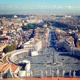 Saint Peter's Square in Vatican - retro filter. View of the city Rome. Stock Photo