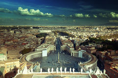 Saint Peter`s Square in Vatican Stock Photo
