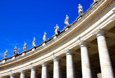 Saint Peter's Statues. A view of Saint Peter's statues of saints in the Vatican City royalty free stock image
