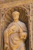 Saint Peter at the Saint Thomas Church of Haro, La Rioja. Statue of the Apostle Saint Peter at the 16th Century Principal Gate at the Church of Santo Tomas in Stock Photo