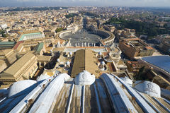 Saint Peter Square. Rome. Vatican. View of the area from the dome of the cathedral royalty free stock image