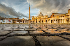 Saint Peter Square and Saint Peter Basilica in the Morning Royalty Free Stock Photography