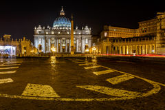 Saint Peter Square and Saint Peter Basilica at Night Stock Photo