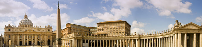 Saint Peter square in Vatican, Italy. Panoramic view of saint Peter square in Vatican, Italy Royalty Free Stock Photos