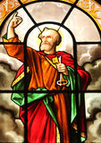 Saint Peter. Stained glass, St. Elizabeth of Hungary church, Paris royalty free stock photo