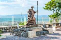 Saint Peter Statue. Statue of St. Peter in Capernaum, Israel, with the Sea of Galilee in the background Stock Photography