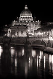 Saint Peter (Vatican) and Tiber river. Night. royalty free stock photography