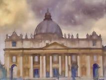 Saint Peters basilica. Pastel oil painting of Saint Petres basilica Royalty Free Stock Images