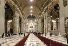 Saint Peters Basilica. Saint Peter`s Basilica is place of worship, medieval architecture and church. That marvel has cathedral, building and byzantine Stock Photo