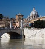 Saint peters basilica and Tiber river Stock Photo