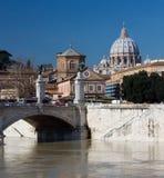 Saint peters basilica and Tiber river Stock Photo