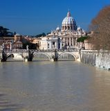 Saint peters basilica and Tiber river Royalty Free Stock Photos