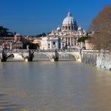 Saint peters basilica and Tiber river Royalty Free Stock Photos