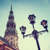 Saint Peters Church in old city Riga, Latvia. Royalty Free Stock Photos