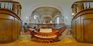 Saint Peters Church Organ, Gherla, Romania. 360 panorama from the organist`s point of view of Saint Peter`s Church`s interior, Gherla, Romania Stock Images