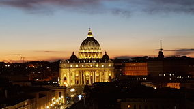 Saint Peters Square, landmark, night, city, evening. Saint Peter`s Square is landmark, evening and dusk. That marvel has night, cityscape and morning and that Royalty Free Stock Images