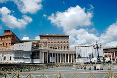 Saint Peters Square. Is a massive plaza located directly in front of St. Peters Basilica in the Vatican City, the papal enclave surrounded by Rome, directly Stock Images
