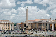 Saint Peters Square. Is a massive plaza located directly in front of St. Peters Basilica in the Vatican City, the papal enclave surrounded by Rome, directly Royalty Free Stock Images