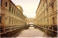 Saint - Petersburg. Sights of Saint-Petersburg, the Hermitage bridge, Winter groove Stock Images