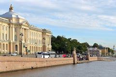 Saint Petersburg Academy of Arts 1757 and Two 3500-year-old sphinx monuments. University embankment on right bank of Bolshaya Neva on Vasilievsky Island. Saint stock photo
